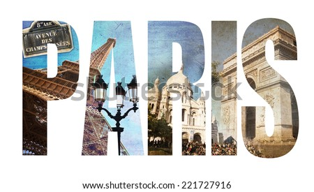 Photo collage letters PARIS, isolated on white background