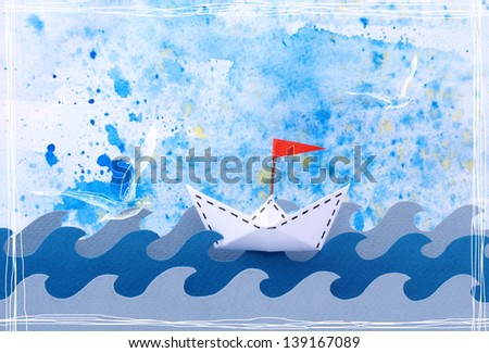 Photo collage of a paper ship with a red flag in the sea/ocean in a mixed paper cut/graphic style