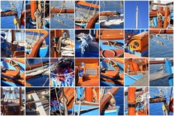 photo collage of details from an old sailboat