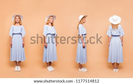 Photo collage of different 3d variation of a lady wearing style stylish clothes apparel with long curly wavy hairstyle isolated on pastel bright vivid background