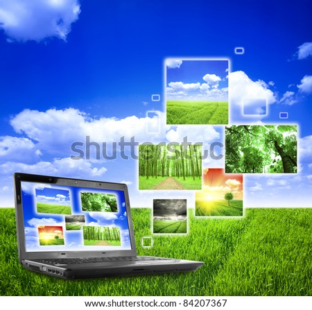 Photo collage of notebook on nature background
