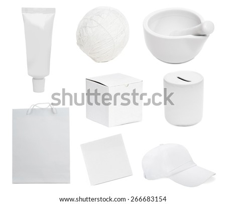 Photo collage of white objects isolated on white background