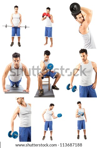 photo collage of young adult man making fitness excercise