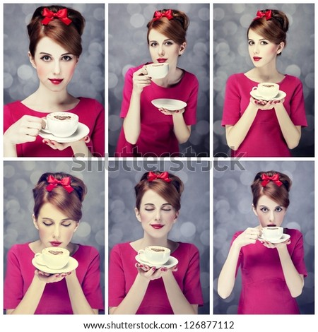 Photo collage - redhead girl with coffee cup. St. Valentine Day.