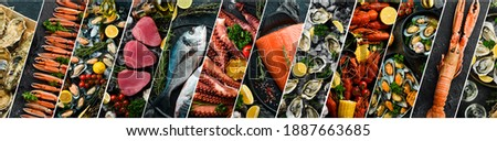 Photo collage. Seafood: Fresh fish, crustaceans and shellfish on a black background. Photo stock ©
