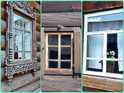 Photo collage the window architraves. The facade of the hut Peasant farmstead of the XIX-th century. A rich family lived here. The beautiful carving-work decorating the window
