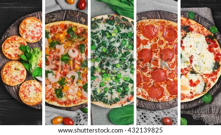 Photo collage with five different types of pizza