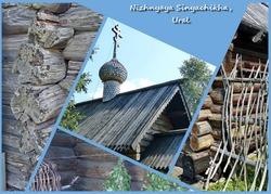 Photo collage-wooden architecture of Russia, village Nizhnyaya Sinyachikha, Ural. Chapel St.Ilija the Prophet XVIII-th century and facades of peasant log cabins of the end of the XVII century.