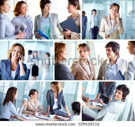 Photo collection of successful business ladies at work