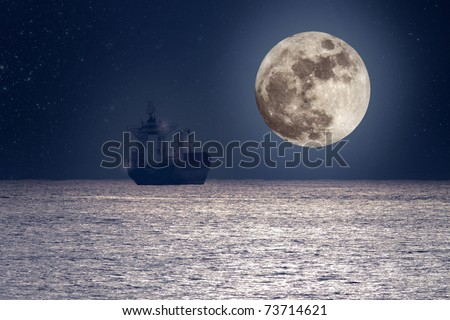 Photo composition of a commercial ship cruising ocean on a calm full moon night (added some digital grain)
