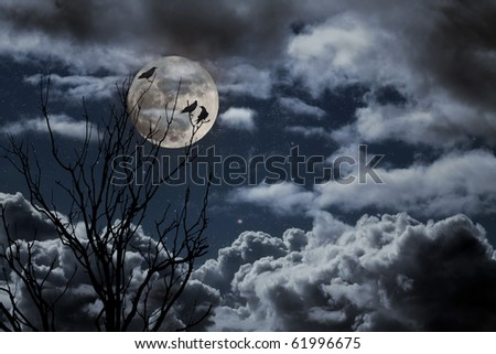 Photo composition with full moon, part of a naked tree, clouds and crow that can be used for halloween