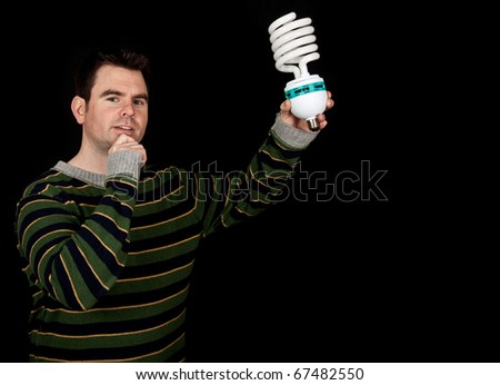 photo concept middle age male with bulb and an idea
