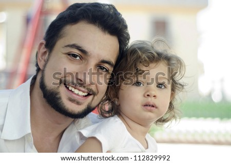 Photo concept of caring for a father to a daughter and complicity.