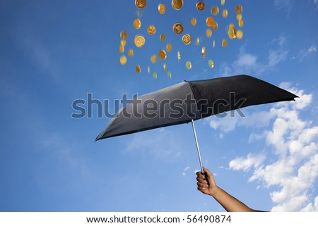 photo concept of wealth and raining money