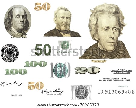 Photo dollar bill elements isolated on white background - stock photo