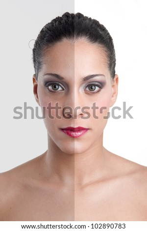 Photo editing of woman's face showing photo manipulation.