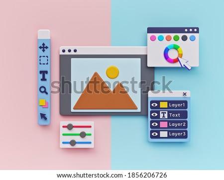 Photo Editing Software concept. minimal design. 3d rendering