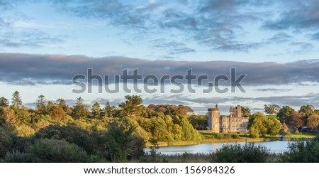 photo epic scenic world famous 5 star dromoland castle hotel and golf club in county clare, newmarket on fergus, ireland. global world hotel golf. panoramic. beautiful lake  forest walk wedding venue