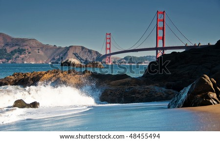 photo famous beautiful san francisco golden gate bridge - stock photo