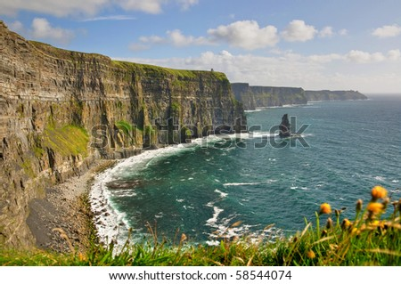 photo famous cliffs of moher, castle tower, west coast of ireland. wild Atlantic way