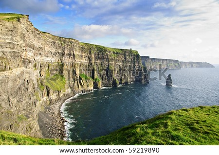 photo famous cliffs of moher sunset, west coast of ireland
