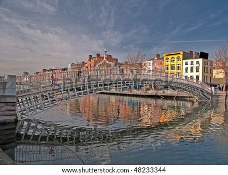 photo famous dublin landmark ha penny bridge ireland