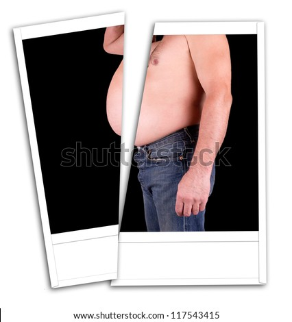 Photo fat man with a belly cut - stock photo
