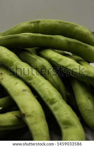 Photo fava beans with white background.