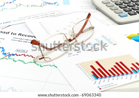 photo financial report and statistic chart business concept