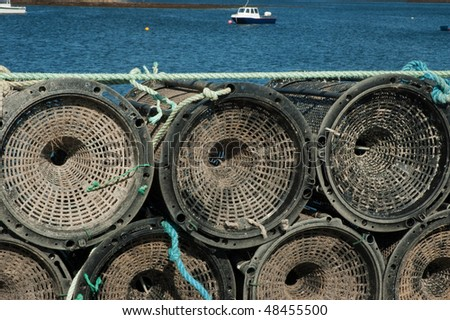 photo fishing baskets on a pier west of ireland