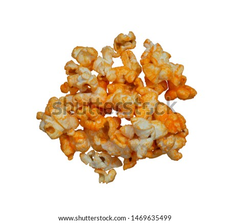 Photo for developers.Picture of the background cut-out only do not adjust the light and colour process. Popcorn hot spicy stack isolated on white background.top view. #1469635499