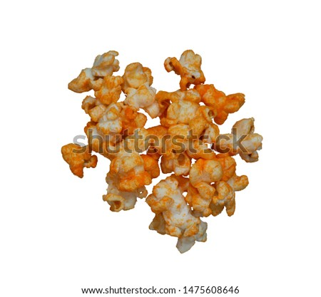 Photo for developers.Picture of the background cut-out only do not adjust the light and colour process. Popcorn hot spicy stack isolated on white background.top view. #1475608646