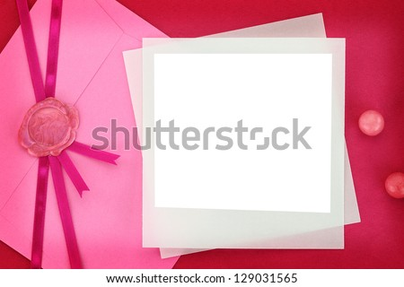 Photo frame and paper envelope with sealing wax stamp