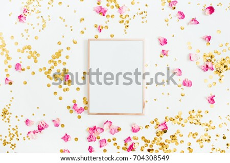 Photo frame mock up with space for text, pink rose petals and golden confetti on white background. Flat lay, top view. Valentine's minimal background. #704308549