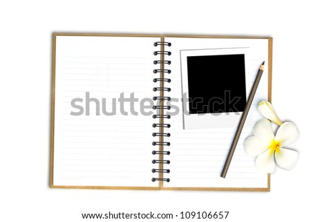 Photo frame on note book with flower, Isolated on white with clipping path