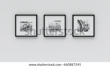 Photo frame on wall - Bicycle picture(3d rendering)
