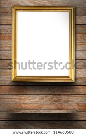 Photo frame on wood wall, With wood shelf design