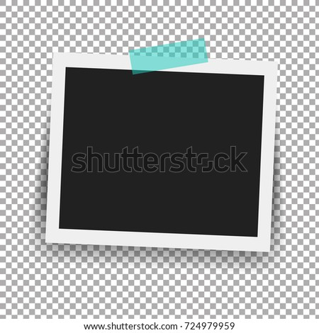 Photo Frame With Adhesive Tape In Transparent Background