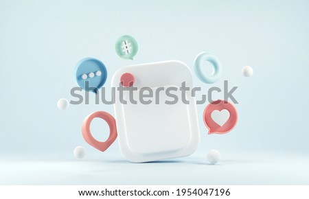 Photo frame with love like comment button on blue background, 3d illustration. Social media marketing concept