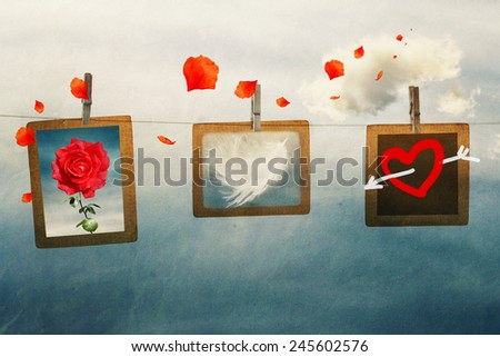 photo frames on a rope in the sky, vintage,  love,