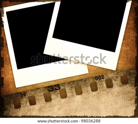Photo frames on scratched background