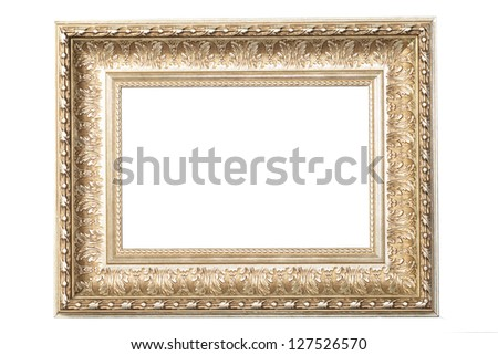 photo frames on the white background vintage photo gold frame retro frame collection painting edge picture exhibit art antique golden large masters gallery oak museum present goldleaf fotoisolated