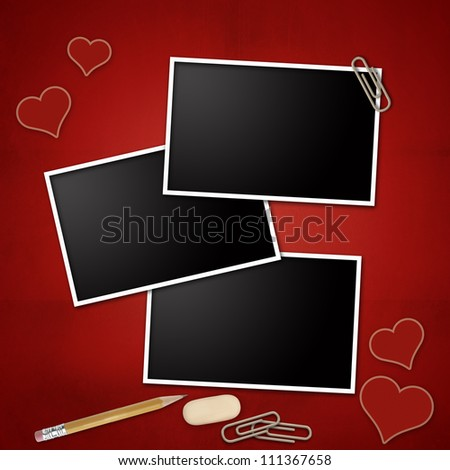 photo frames with pencil eraser clip notepad heart
