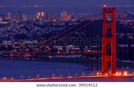 the golden gate bridge at night. golden gate bridge, night,