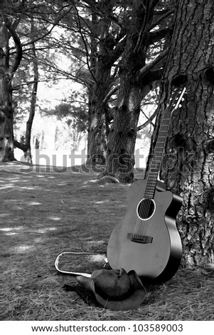 Photo/graphic/illustration of guitar leaning against tree with cowboy hat resting next to it outdoors in park - black and white photo graphic