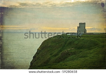photo grunge ancient irish castle, west coast of ireland