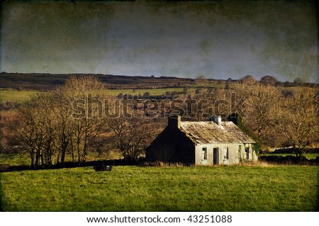 photo grunge decay cottage in rural ireland countryside