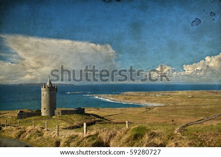 photo grunge old ancient irish castle in west of ireland