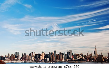 photo high contrast new york city skyline cityscape