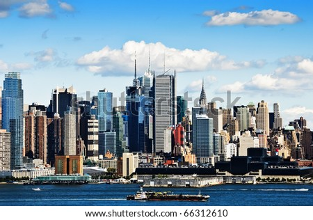 photo high contrast new york cityscape over the hudson river - stock photo